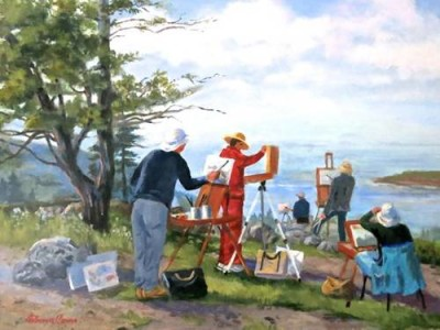 Painters on Mohegan Island_oil by Florence Como